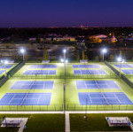 "Ben Davis HS tennis courts. Qualite's ""GameChanger"" L.E.D. sports lighting system"